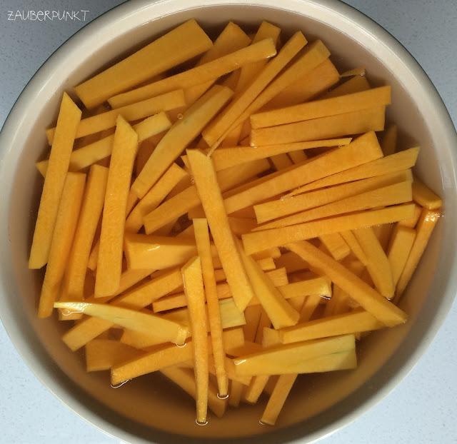 Rezept, Kürbis, Pommesfrites, Homemade, Herbst
