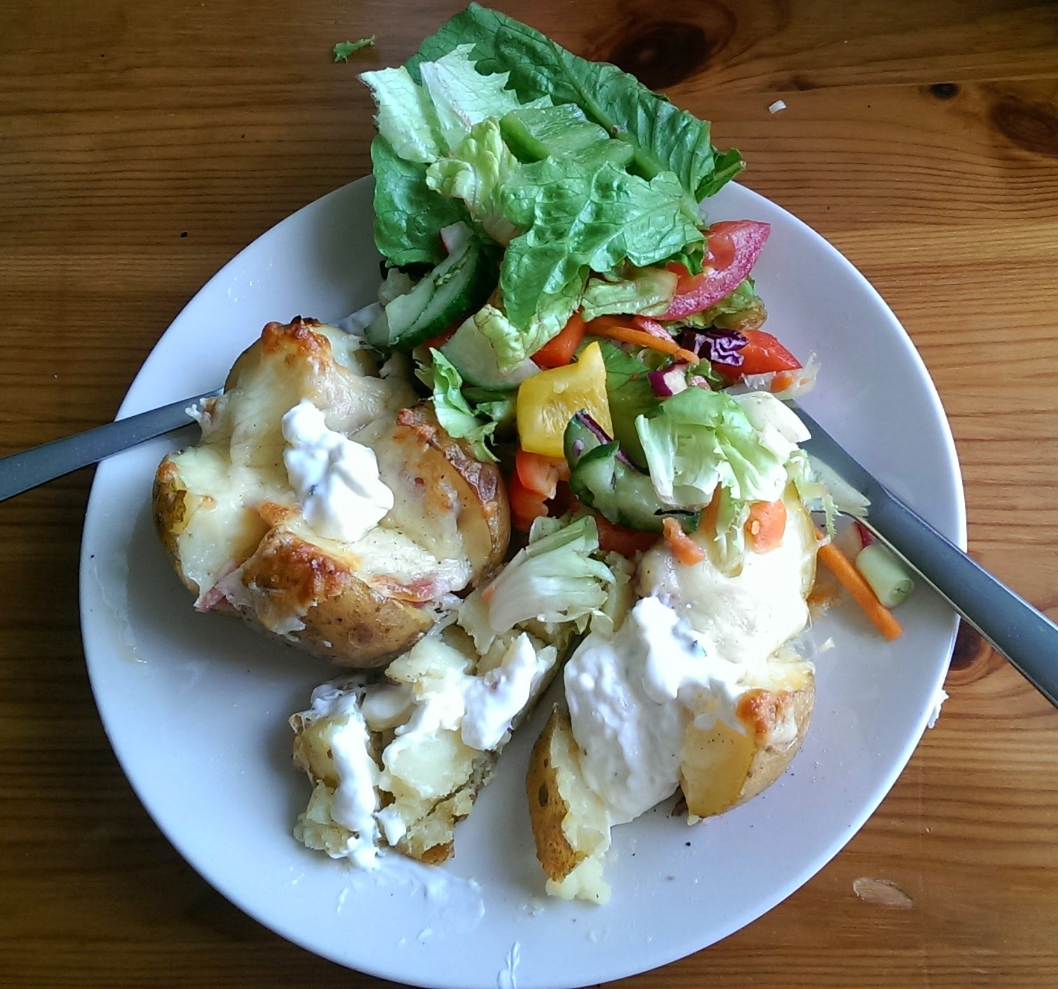 Bacon and Cheese Baked Potatoes and Salad