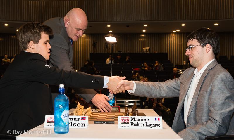 Départage final: Magnus Carlsen 1.5-0.5 Maxime Vachier-Lagrave - Photo © Ray Morris-Hill
