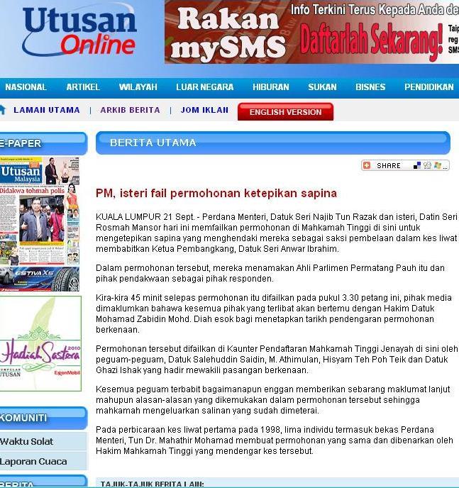 Dengan tersiarnya berita SEDIH di atas, maka SAHLAH Rakyat Malaysia ...