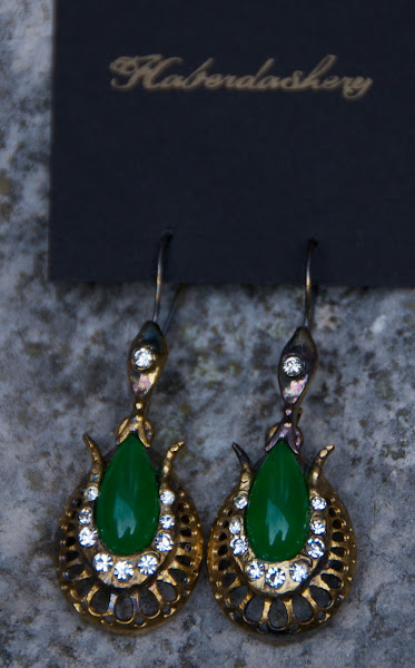 Green earrings.  Hand made.