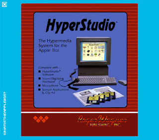 hyperstudio technology with sound digital, microphone, clip art. Shows the old computer in the 80s