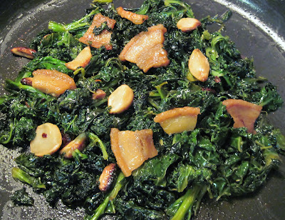 kale with roasted garlic and fatback