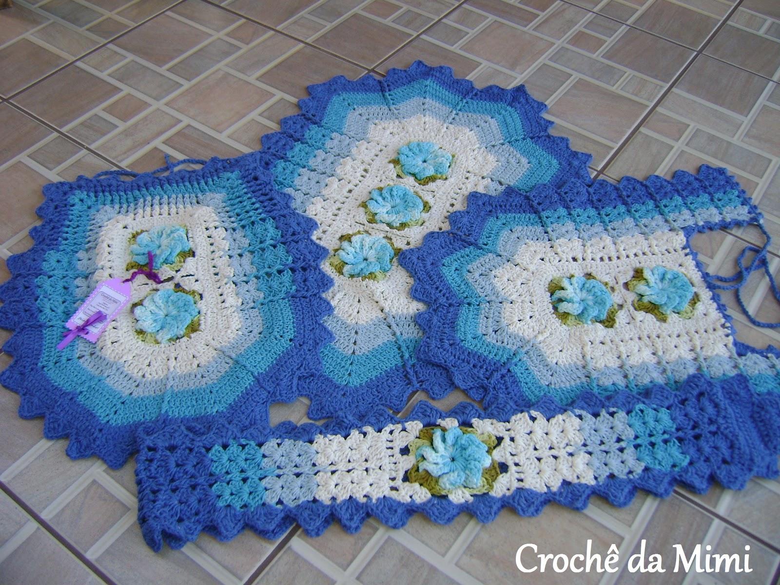 Jogo De Banheiro Azul Em Croche : Jogo de banheiro em degrad? azul quot croch? da mimi
