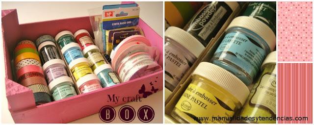 Caja reciclada para almacenar materiales de manualidades/ Craft box