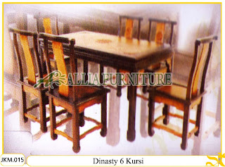 Meja dan Kursi Makan Kayu Jati Ukiran Dinasty 6 Kursi