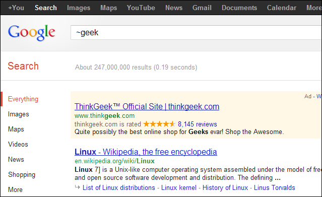The tilde (~) operator for searching related words - example, ~geek