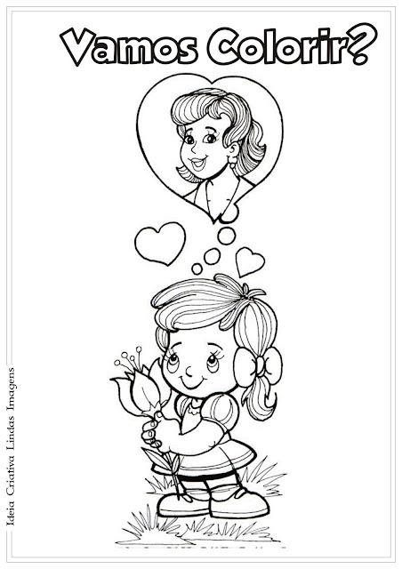 Desenho de Dia das Mães para colorir