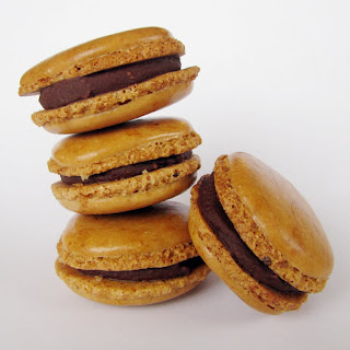 marbled coffee macarons with chocolate ganache