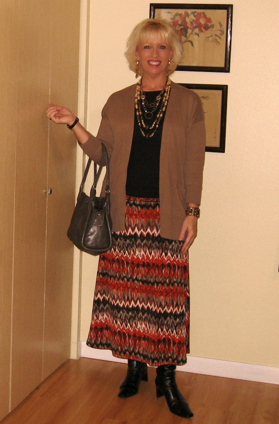 ootd maxi skirt with zig zag print