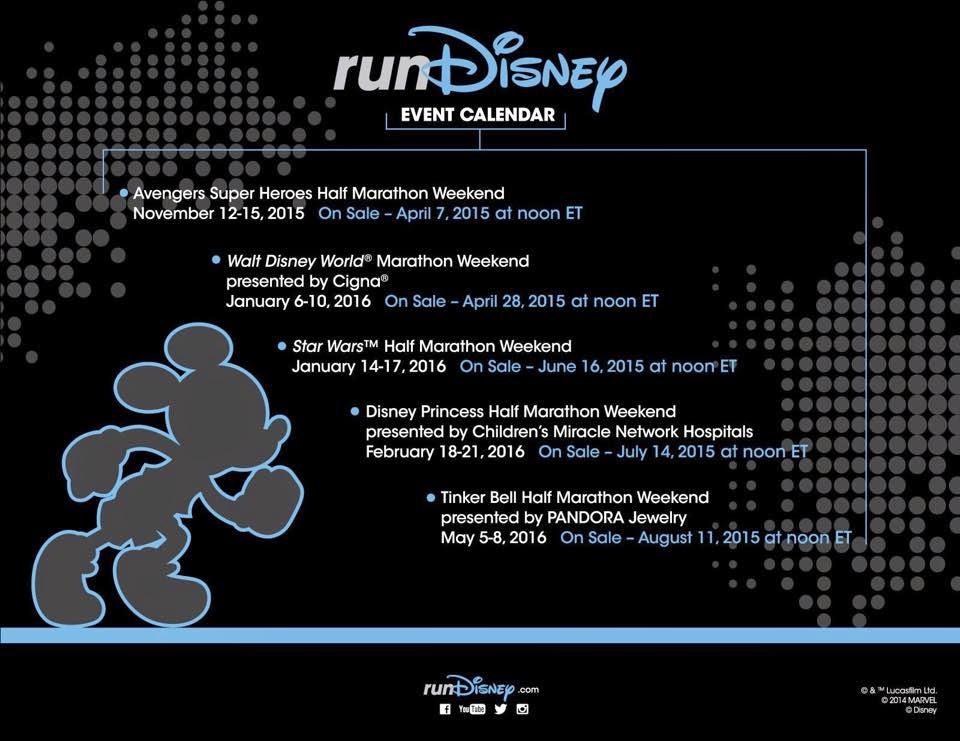 runDisney 2015-2016 Calendar