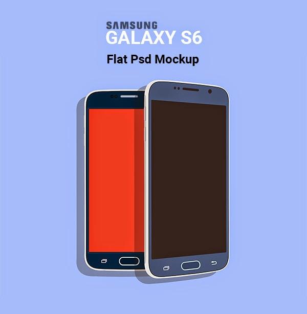 Flat Samsung Galaxy S6 Mockup PSD