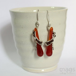 Swirl Red Agate Earrings by MagsBeadsCreation