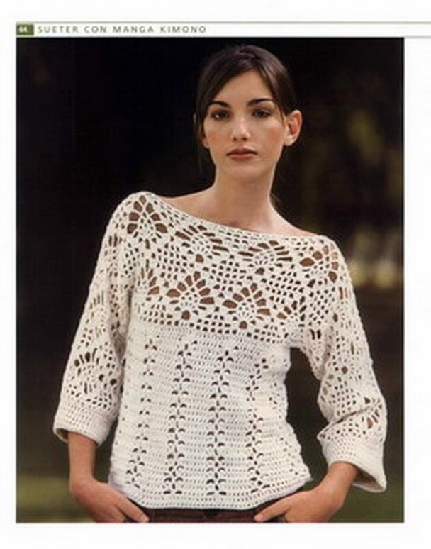 Patrones de blusones en crochet - Imagui