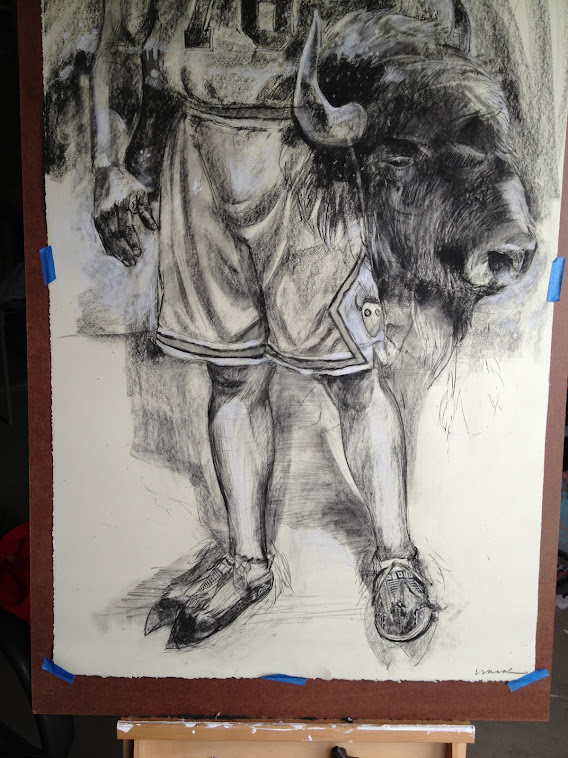 Power Forward 33x40 Charcoal on Paper