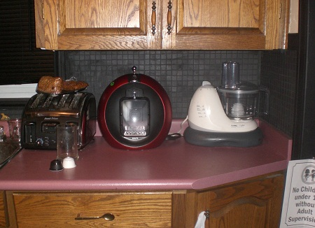 The Nescafe Dolce Gusto Circolo takes up a good bit of counter space.