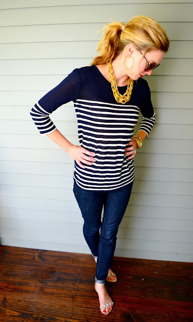 J. Crew striped top, gypsy fieldcamp gold necklace, zara diamond sandals, zara flat rhinestone sandals, burberry sunglasses, what to wear with stripes, carly lee, carly lee houston, c. style blog, c-style blog, carly lee houston, carley lee, c style fashion blog, style and fashion blog, c-style fahion blog, carly sundstrom lee 