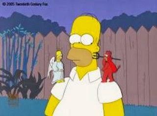 Homer Simpson entouré d'un ange et d'un diable
