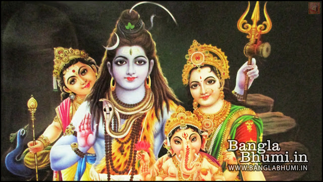 Lord Shiva, Mata Parvati, Lord Ganesha & Kartikey Indian God 1366x768 Wide Wallpaper