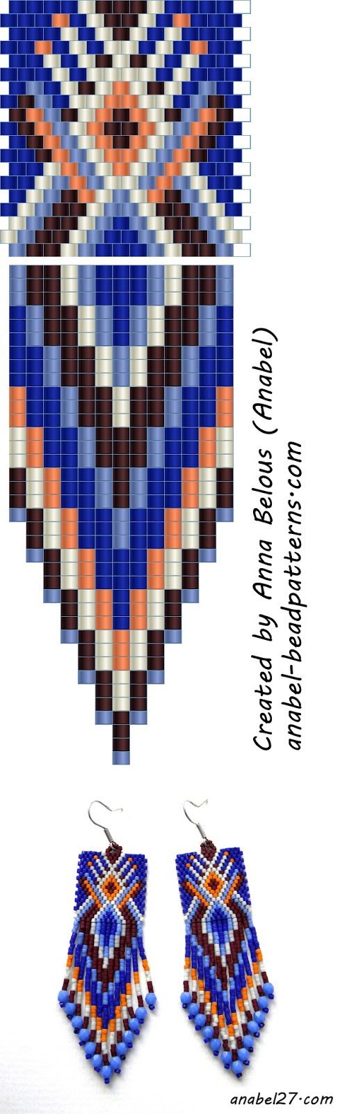 Схема сережек - мозаичное