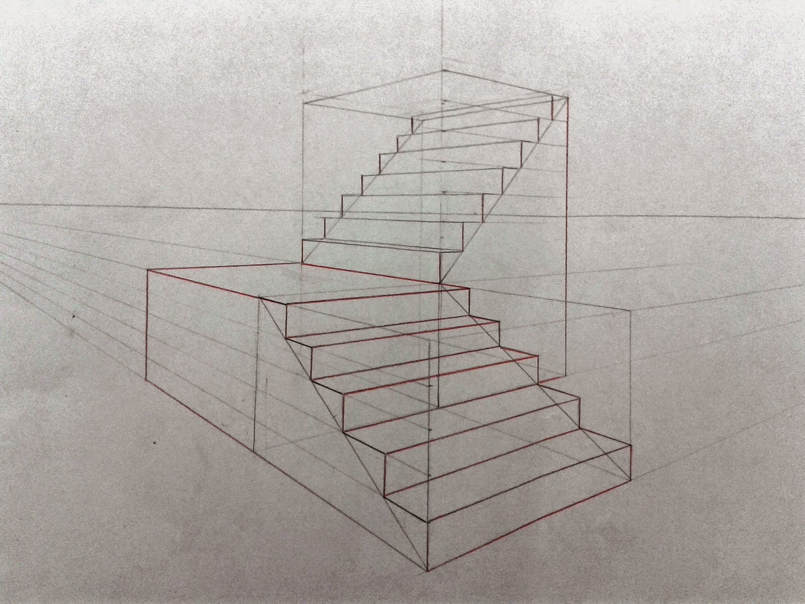 Perspective Escalier : Dessin illustration strip escalier en perspective
