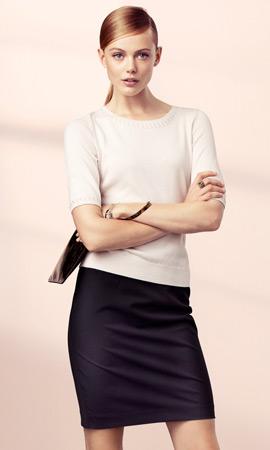 falda lápiz y jersey mujer H&M