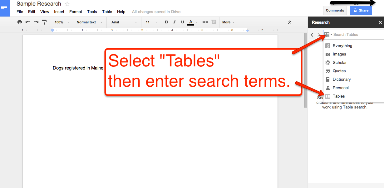 Free technology for teachers search for data tables for Google documents and data