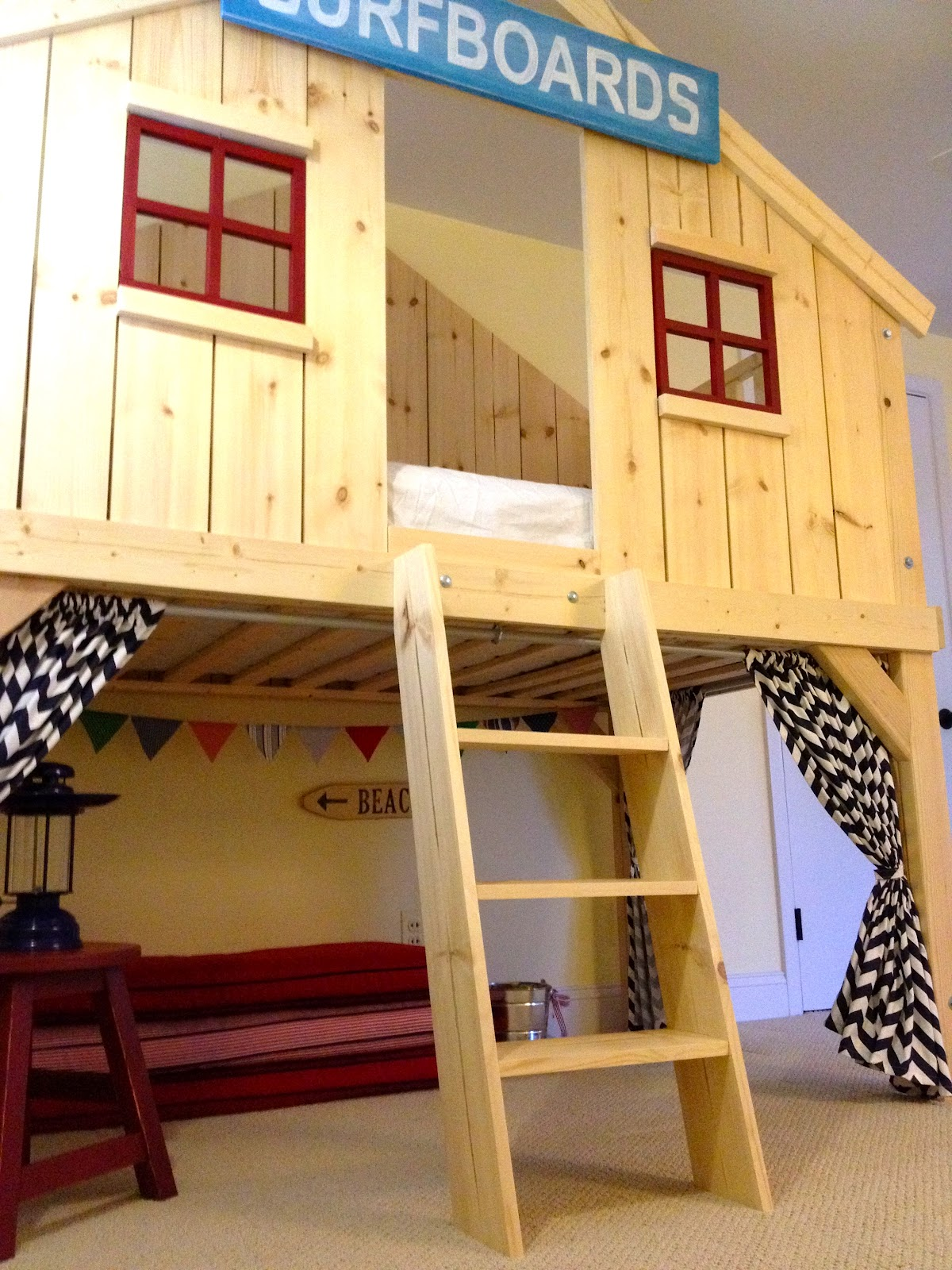Diy bunk bed for kids - Playspace Under Clubhouse Bed