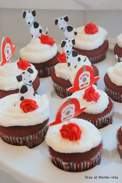 fire hat and fire dog cupcakes for a fire truck birthday party