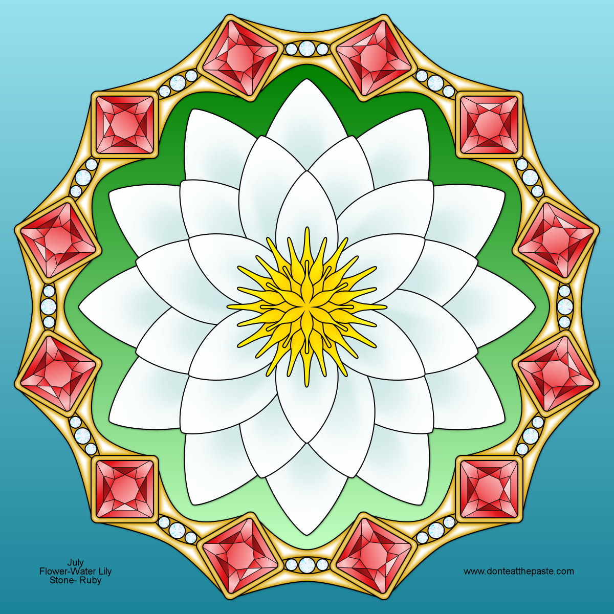 Dont eat the paste july birthstone and flower mandala waterlily and ruby mandala for july izmirmasajfo