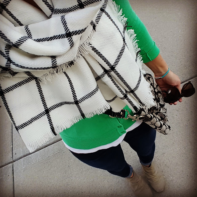Merona Cardigan - on sale for $16! // Merona Scarf - on sale for $12! // American Eagle Tee // Joe's Jeans (similar in a lighter shade for 40% off!) // Express Booties (similar - only $33!) // Ivanka Trump Sunnies (similar) // Bravelets Bracelet // Coach Crossbody (similar Michael Kors for 50% off!)