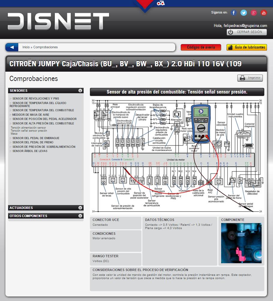 Comprobación de la tensión de señal del sensor (información extraída de www.dis-net.com)