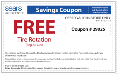 free tire rotation from sears printable coupon