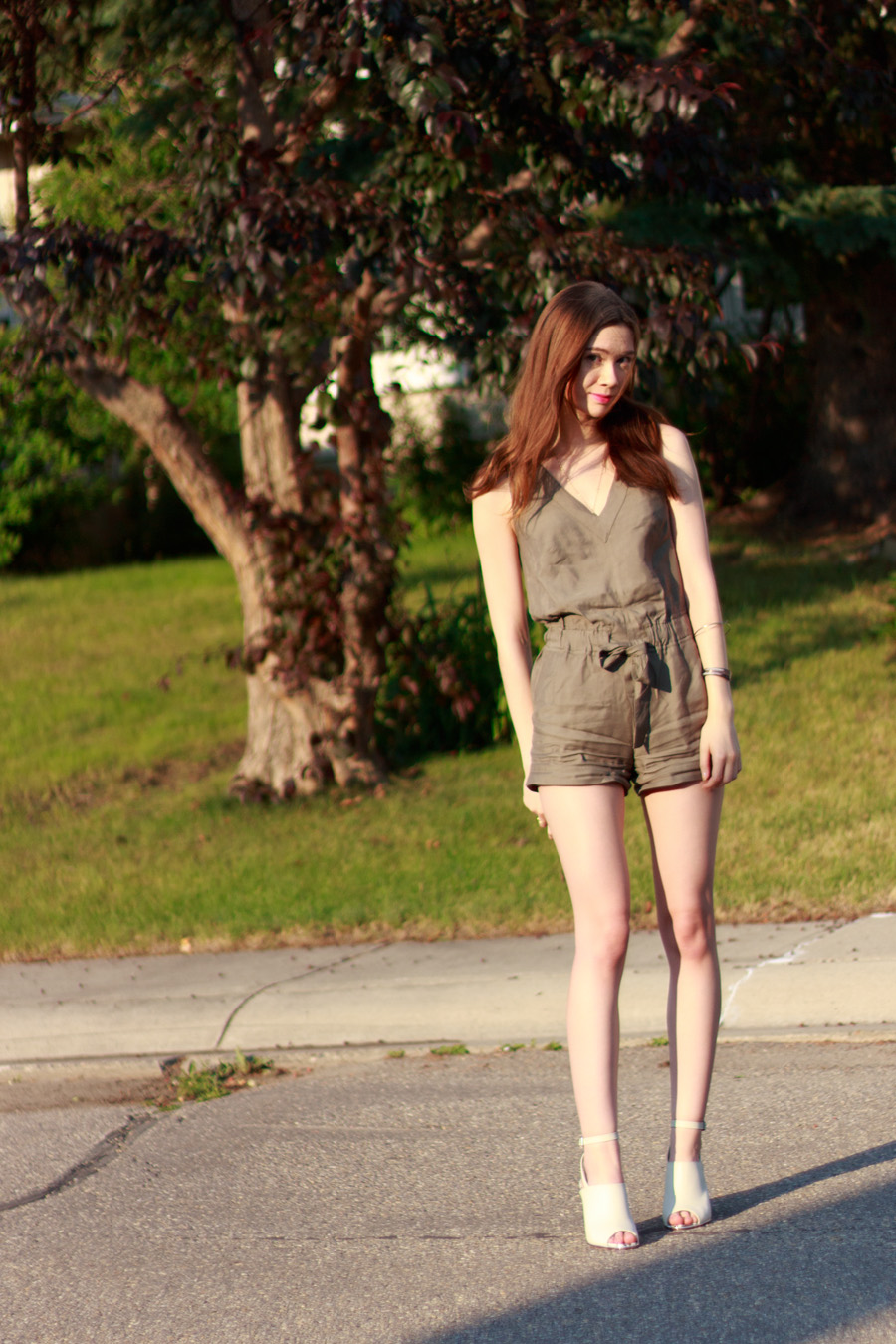 romper, jumper, khaki clothing, almost military style, summer fashion, stampede outfit, banana republic marissa webb design, design lab lord and taylor, calgary fashion