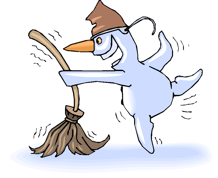 Snowman Dancing with Broom Free Clipart