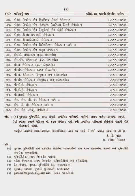 Gujarat University various Exam schedule For Nov-Dec.2014