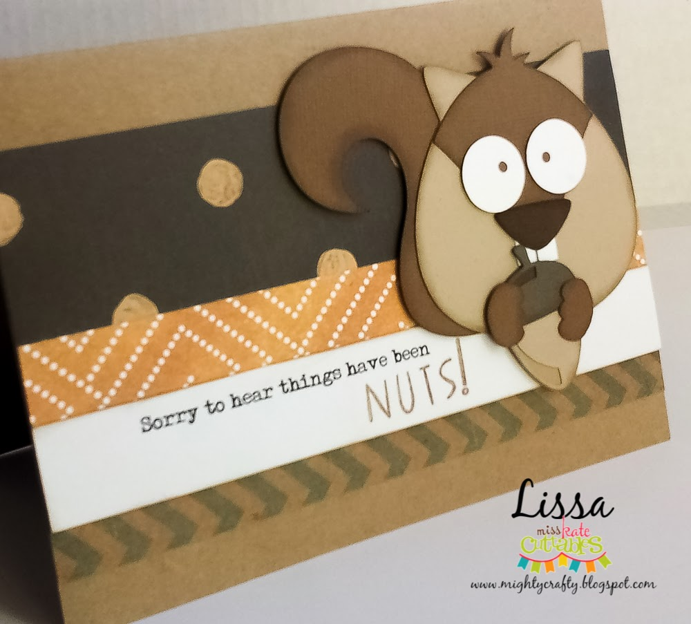 Friend card with squirrel for Miss Kate Cuttables -- by Lissa Mitchell