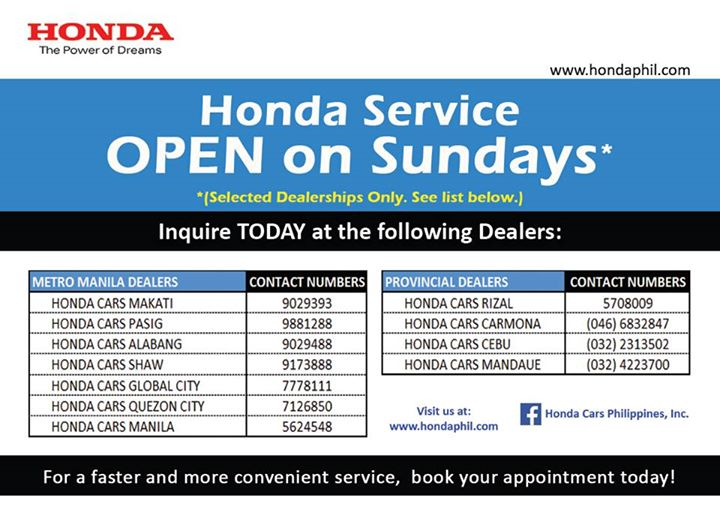 Honda Service Open on Sundays