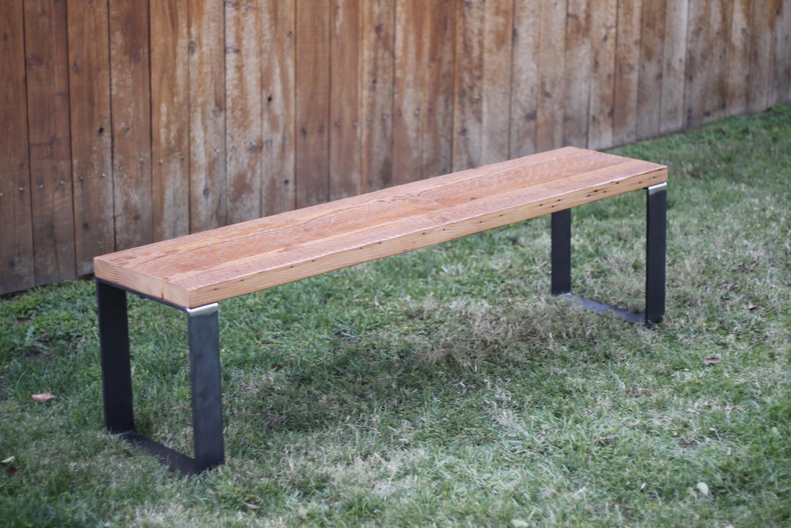 Arbor Exchange Reclaimed Wood Furniture Reclaimed Wood Bench W Custom Metal Base
