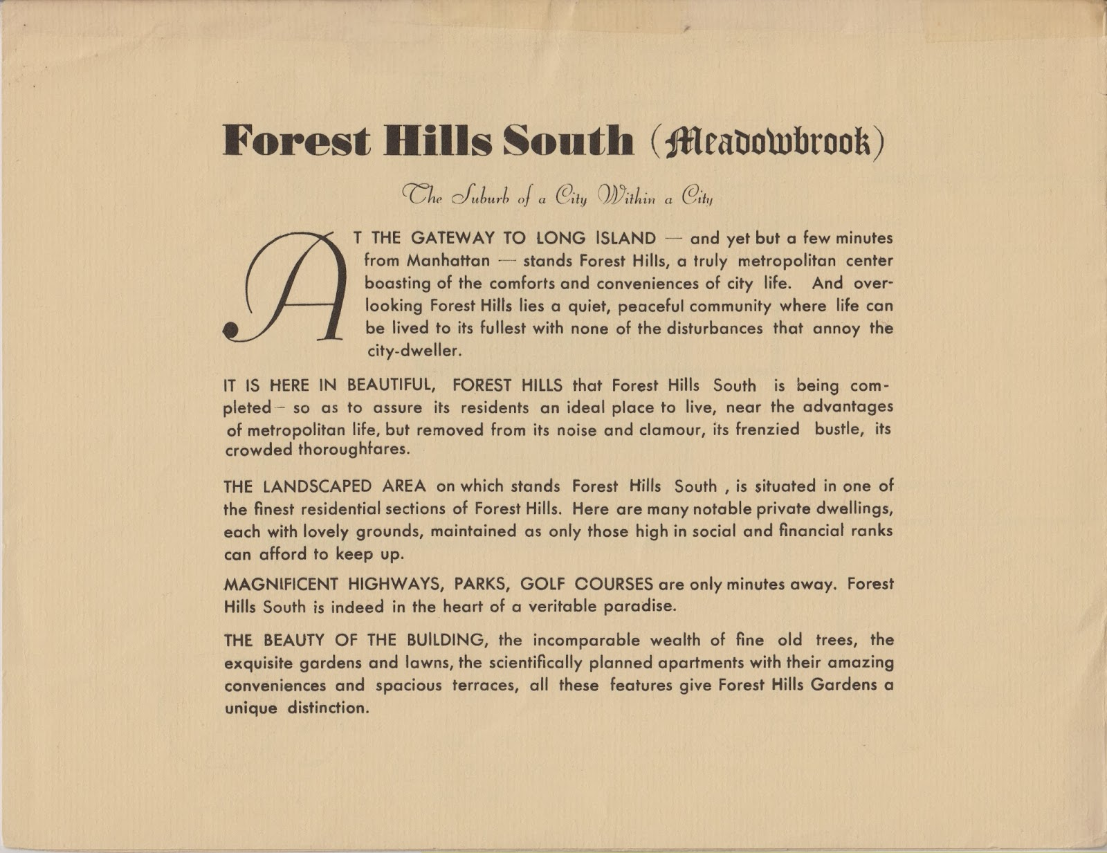 rego forest preservation council  forest hills south prospectus from 1941