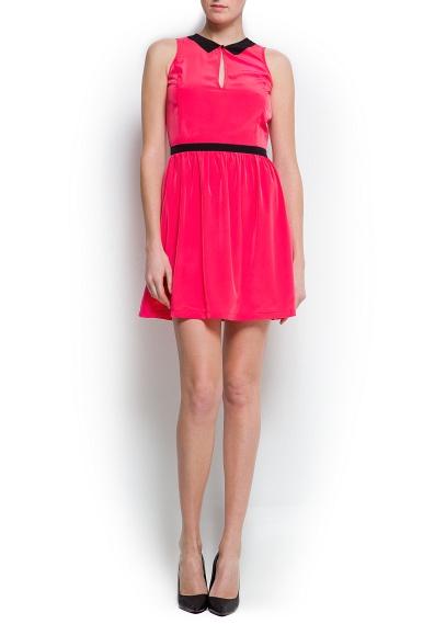 kemerli yakalı kısa pembe elbise