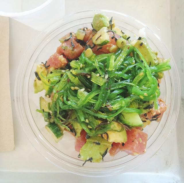 sweetfin poke bowl tuna seaweed salad