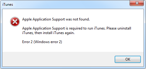 error during itunes remove