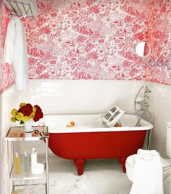 decorar baño en rojo