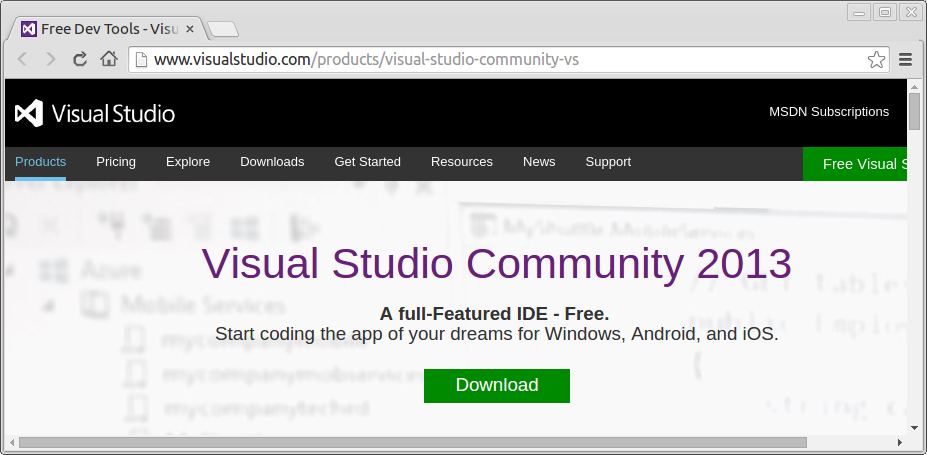 Free Visual Studio Community 2013, Code For Windows, Android, Together With Ios.