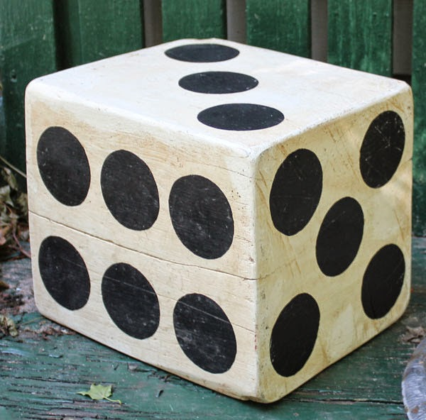 Giant Folk Art Painted Wood Dice