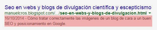Descripción optimizada de un post en Blogger y su resultado en un SERP de Google