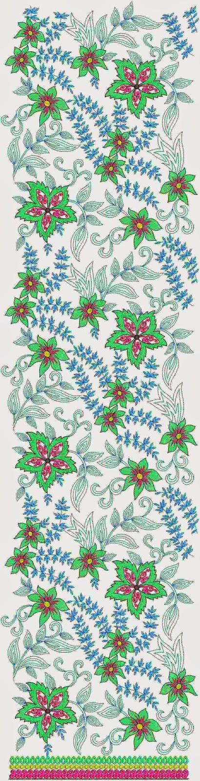 borduurwerk blom patroon Lawn Suit rok