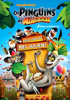 Filme Poster Os Pinguins de Madagascar: Feliz Dia do Rei Julien DVDRip XviD Dual Audio & RMVB Dublado