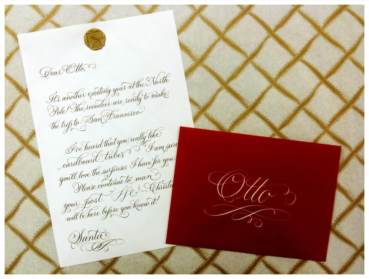 Calligraphic Santa letter by Sarah Hannah